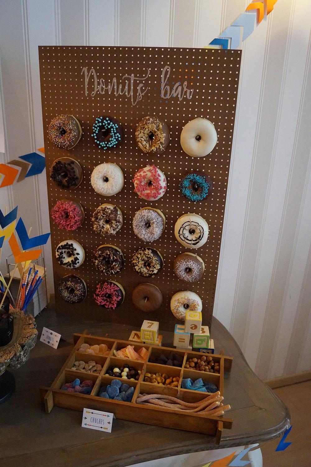 mesa dulce Donuts wall Baby Shower niño