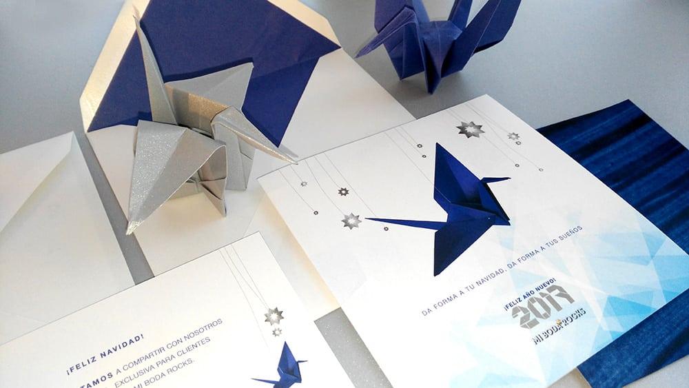 Invitación origami navidad para al brunch Origami forest con grullas de papel en azul y plata