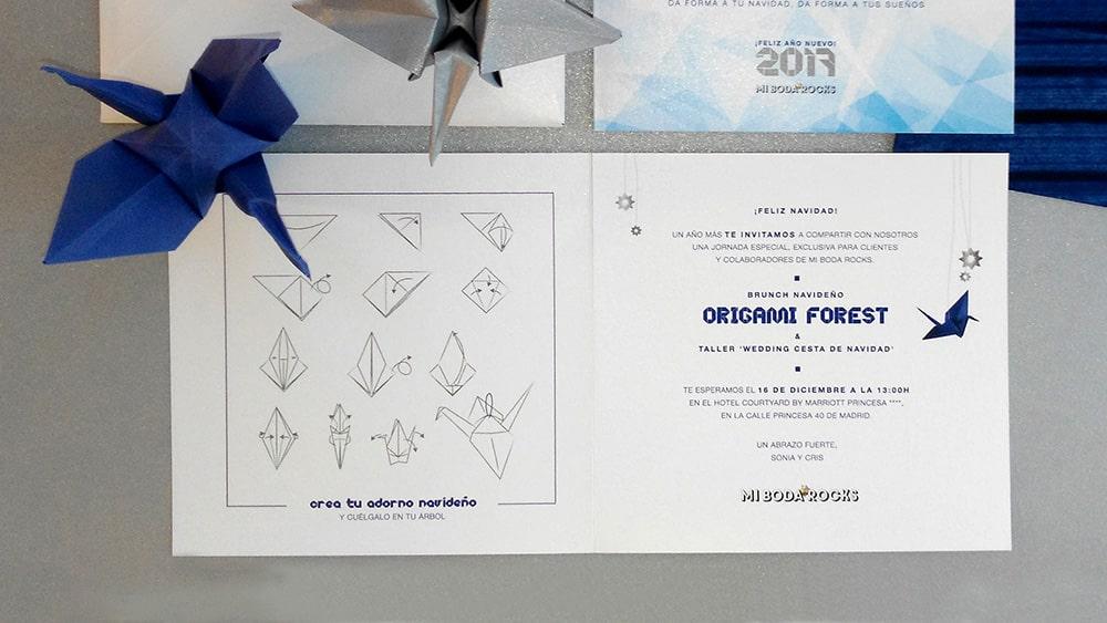 Invitación navidad para al brunch Origami forest con grullas de papel