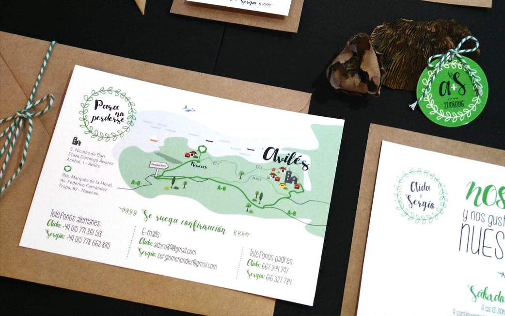 Papelería e invitación boda Kraft y verde - ZAZU - Diseño de bodas