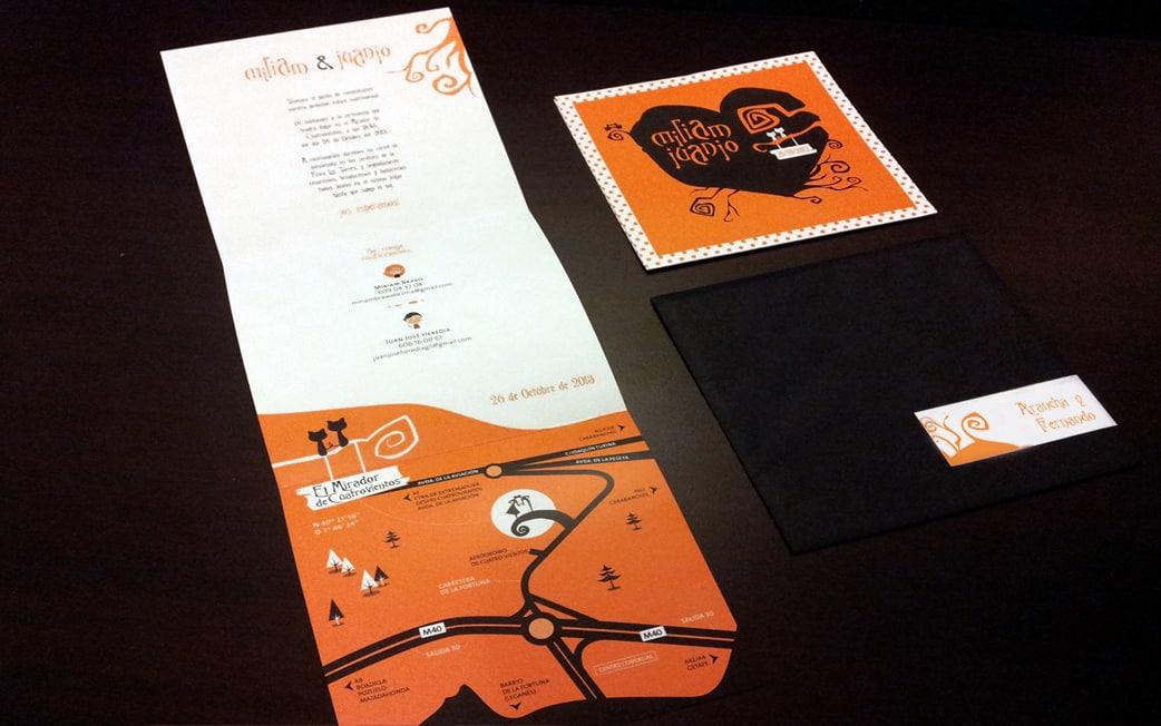 invitación halloween y tim burton en naranja y negro