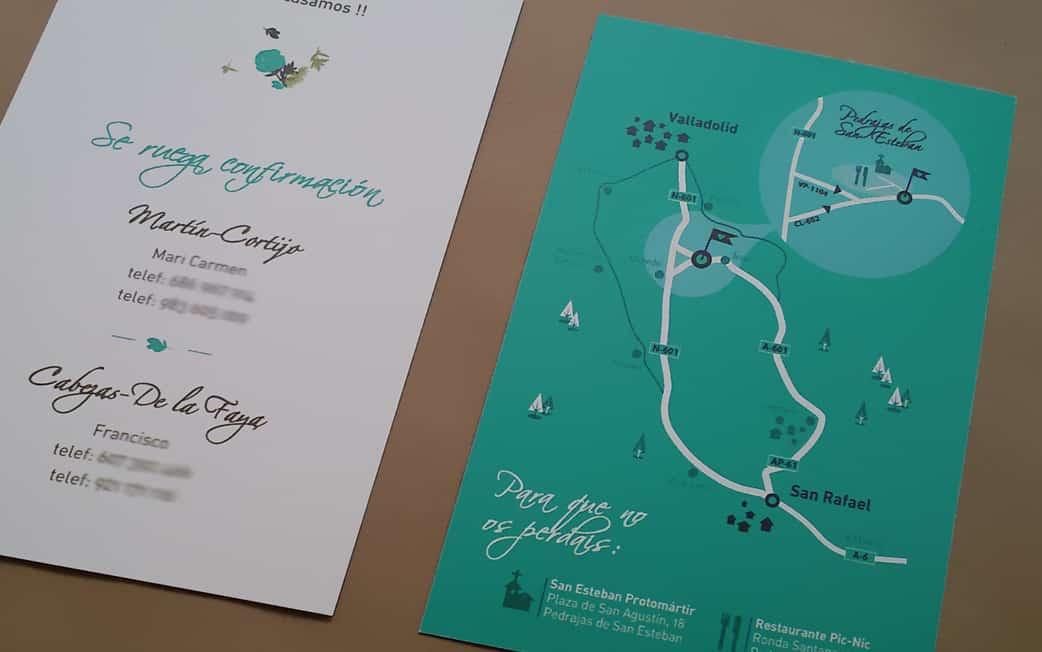 ZAZU plano de la invitación rústica en kraft y verde detalle