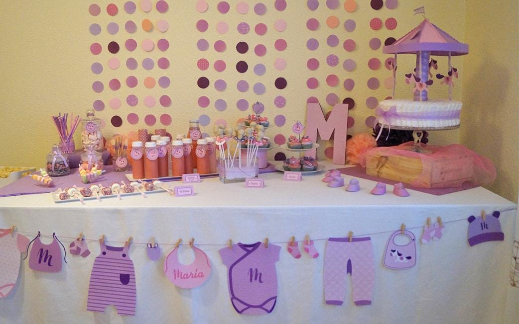 Mesa dulce morado y rosa Baby Shower María