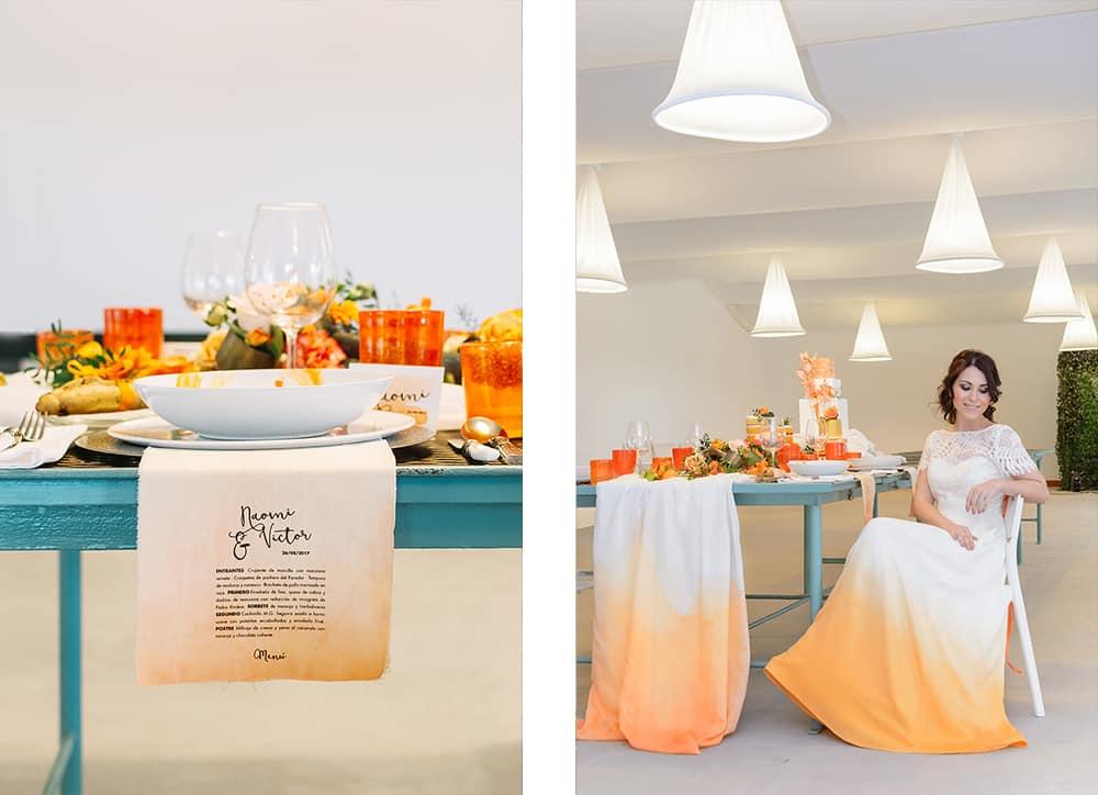 boda naranja vestido novia