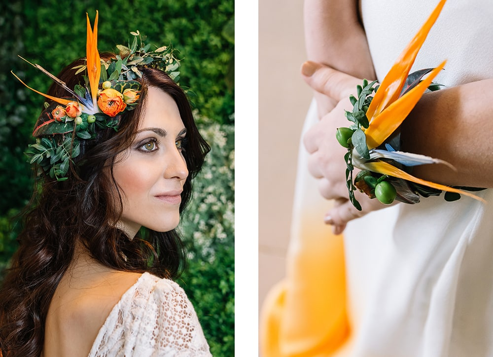 boda naranja Novia con vestido tocado y pulsera de flores naturales en naranjas. All you need is color