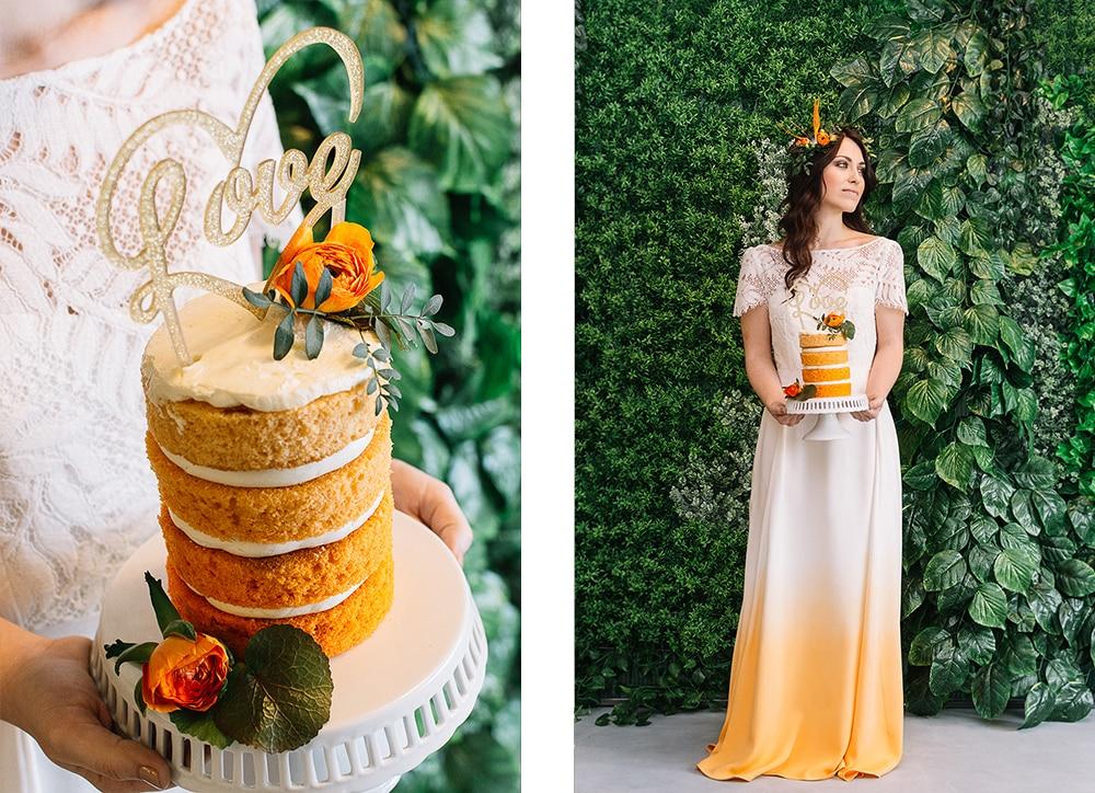 boda naranja tarta y novia