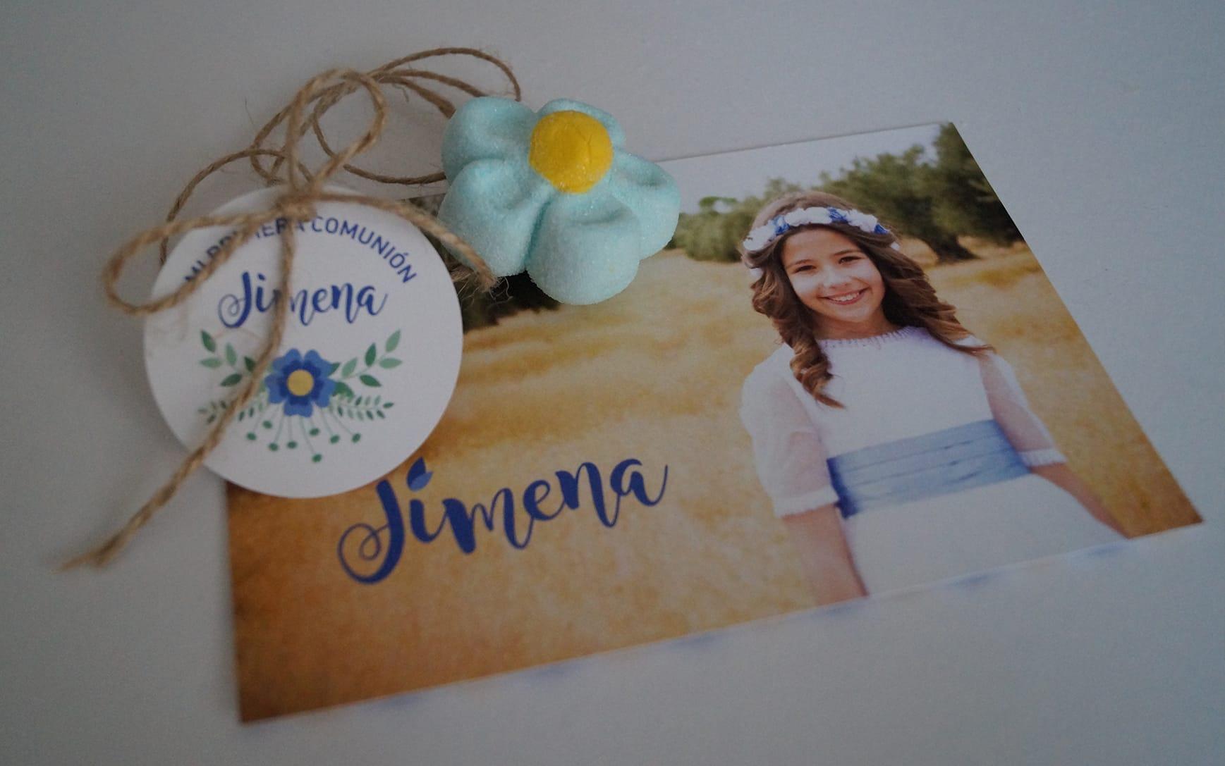 Invitación Candy Bar Comunión azul ZAZU Comunion Jimena