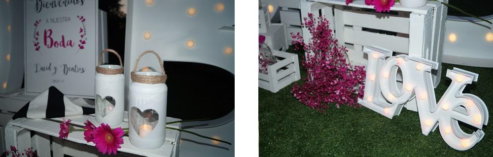 detalle rincón de bienvenida ZAZUboda BeayDavid, romantica y elegante