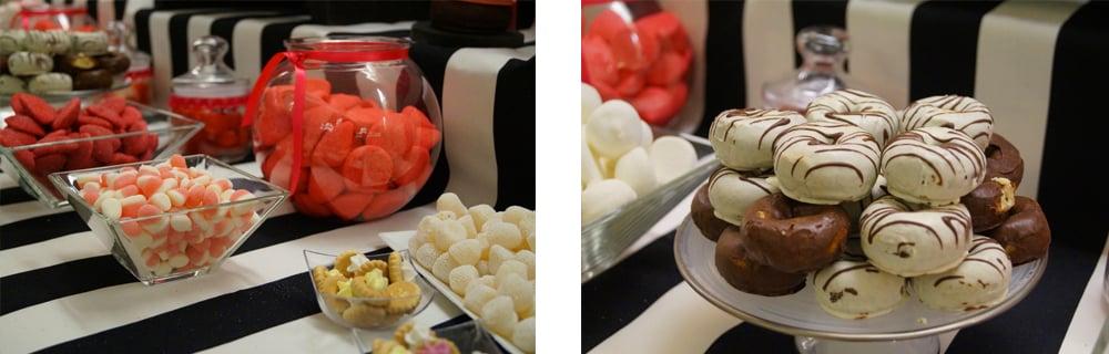 detalle mesa dulce en fucsia y negro ZAZUboda BeayDavid, romantica y elegante