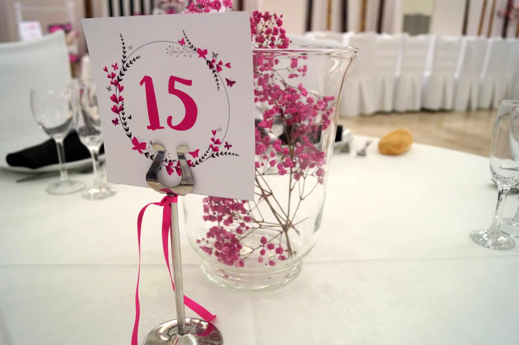 Diseño de numero de mesa ZAZUboda BeayDavid, romantica y elegante