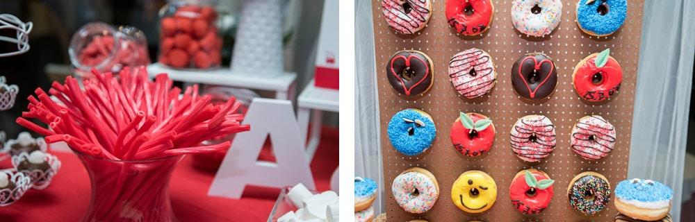 Candy bar rojo donuts bar ZAZU-boda-divertida-en-rojo-Segovia