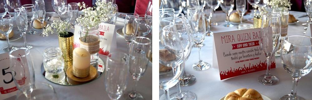 Centros de mesa oro Juego canciones boda ZAZU-boda-divertida-en-rojo-Segovia