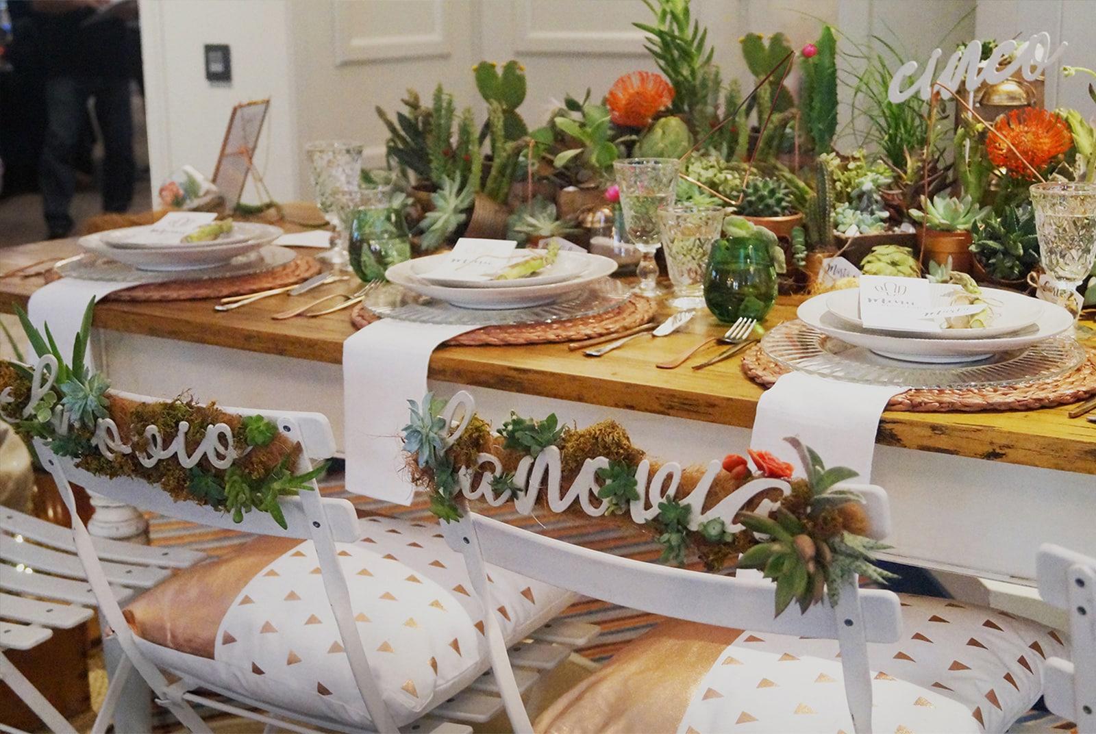 Decoración boda cactus centros de mesa