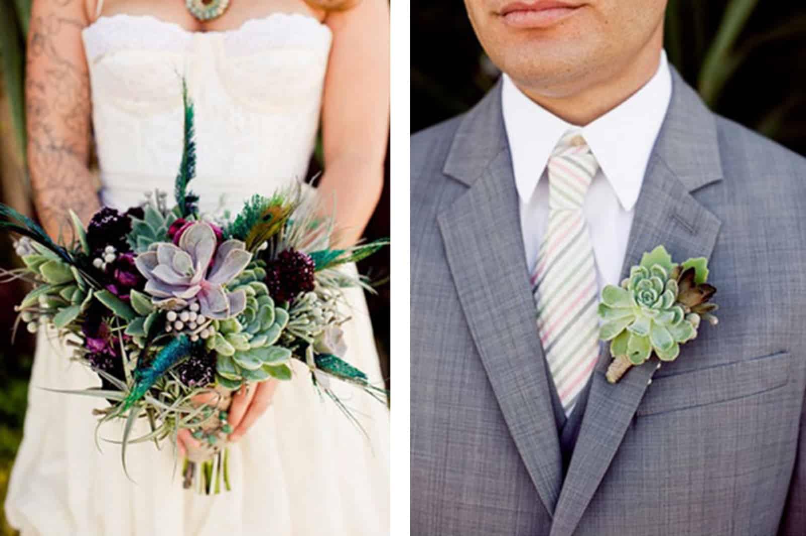 Decora tu boda con cactus Ramo de novia crasas