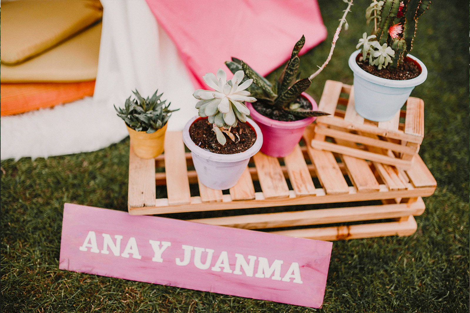 Decora tu boda con cactus cartel novios