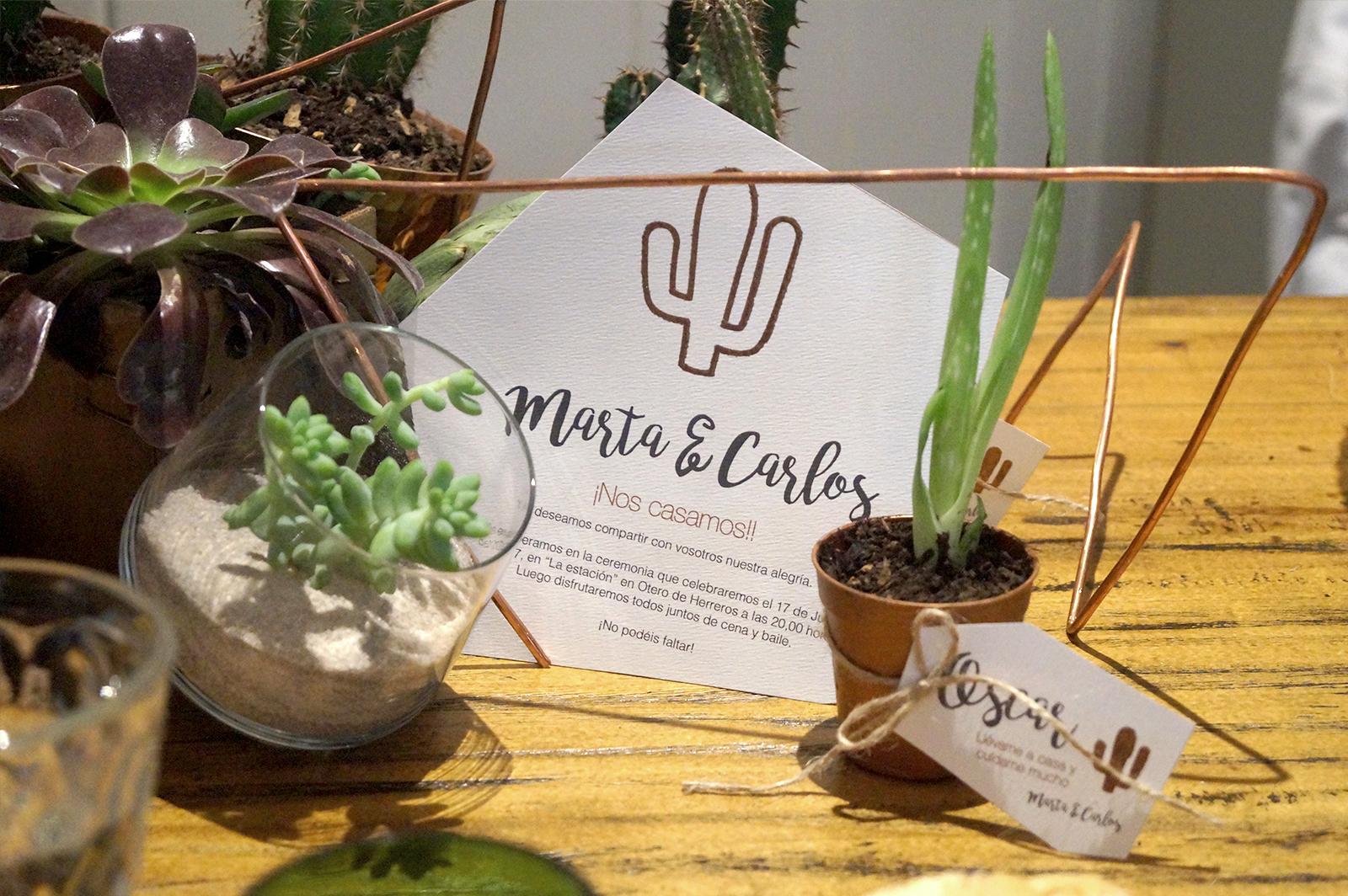 Decora tu boda con cactus invitacion