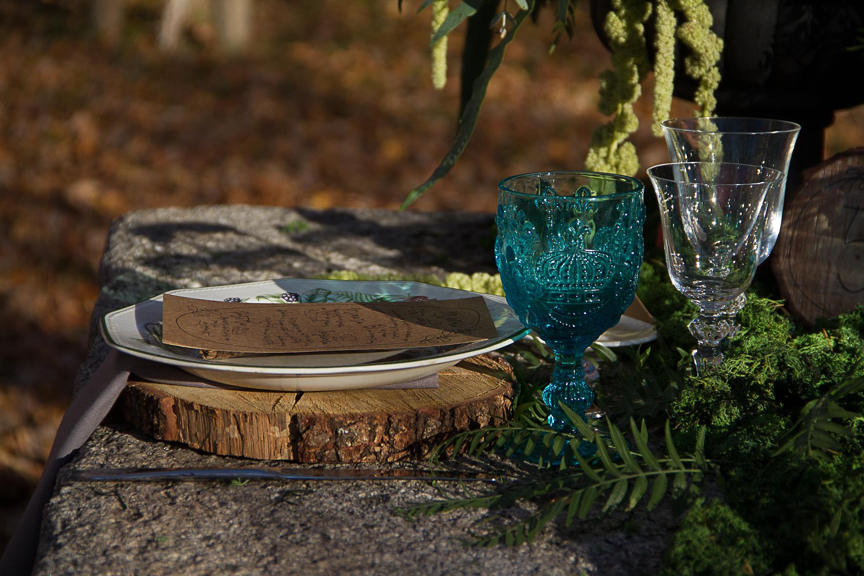 mesa bajoplato rosca de madera boda rustica