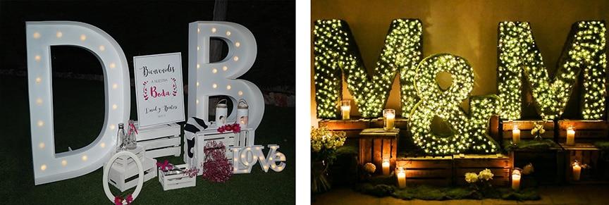 iluminación boda letras luces