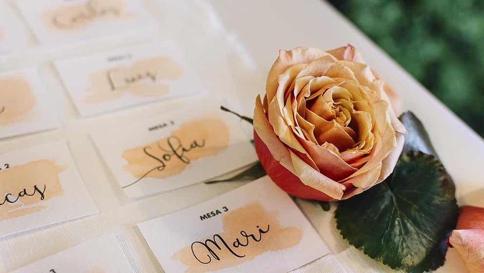 Papelería a juego con la invitación para bodas