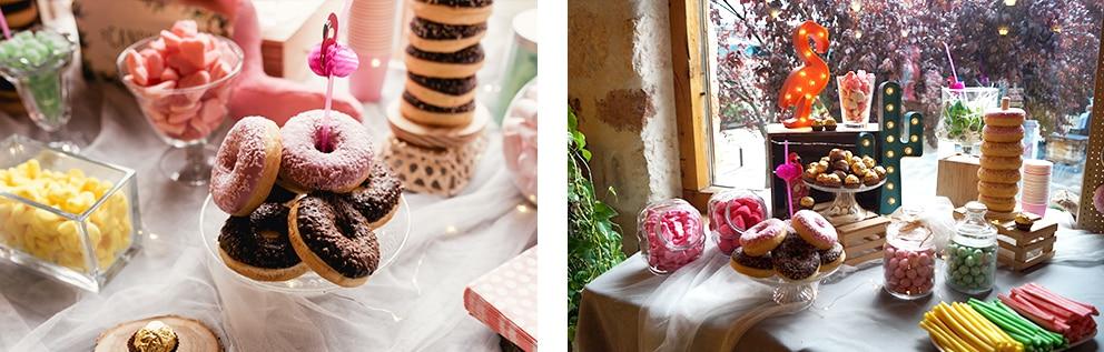 Momentabodas - Boda de NyD en el Palacio de Esquileo candy bar flamencos rosa