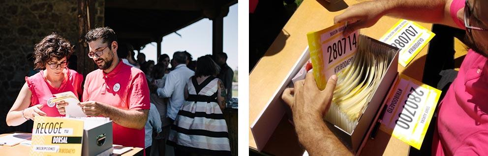 detalle mesa reparto de dorsales invitados seating plan triatlon dorsalboda-girasoles-amarillo-Segovia126