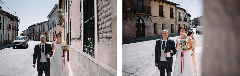 NOVIA camino a la ceremonia boda-girasoles-amarillo-Segovia11