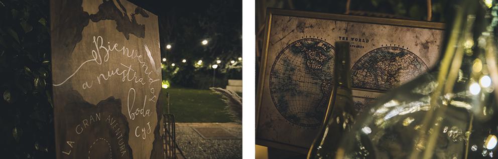 Detalle bienvenida cartel madera Boda Memorias de África de