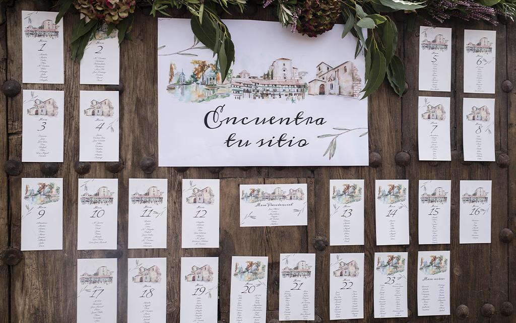 detalle seating plan acuarela rústico boda-con decoración de olivos Aranjuez