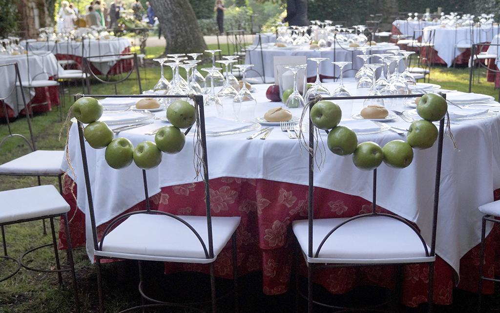 Sillas frutas manzana Boda Palacio CarlosIII Decoración frutal
