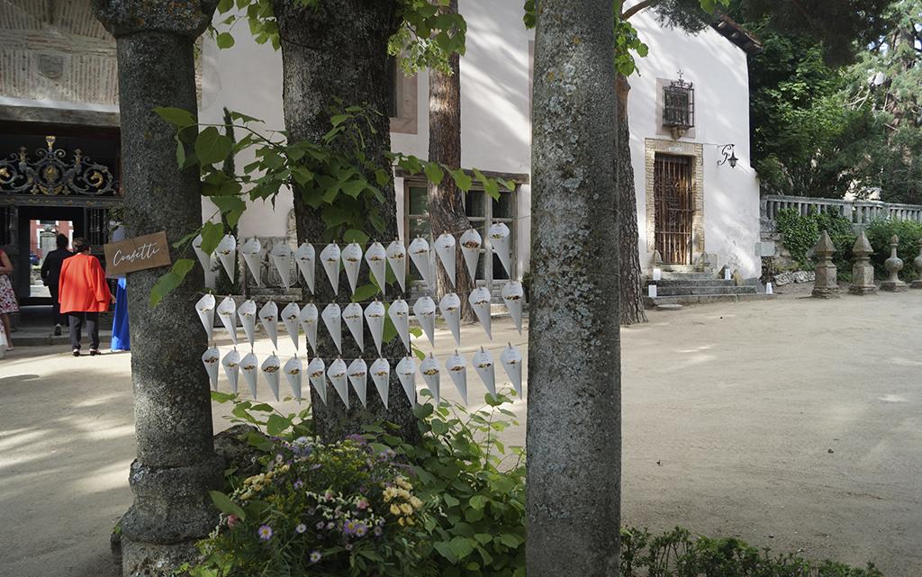 detalle conos Boda decoración Palacio CarlosIII Decoración frutal