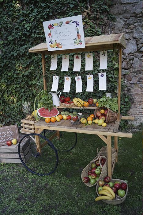 Seating plan carrito fruta Boda Palacio CarlosIII Decoración frutal