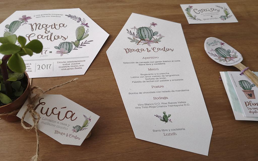 Piezas diseño papelería boda cactus invitación, minuta, regalo, nombre