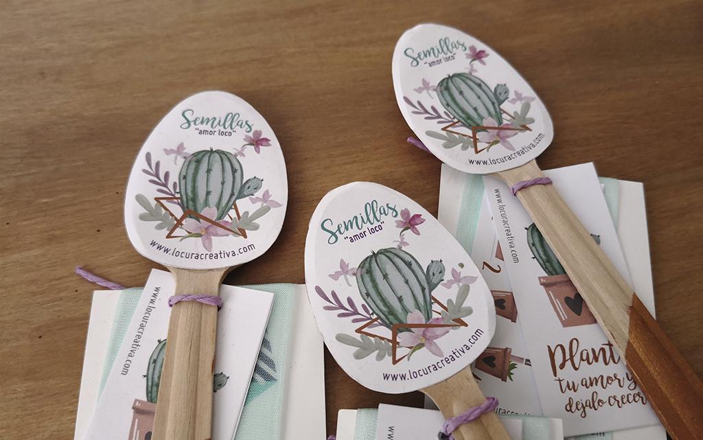 Diseño de cucharas con semillas y diseño boda cactus