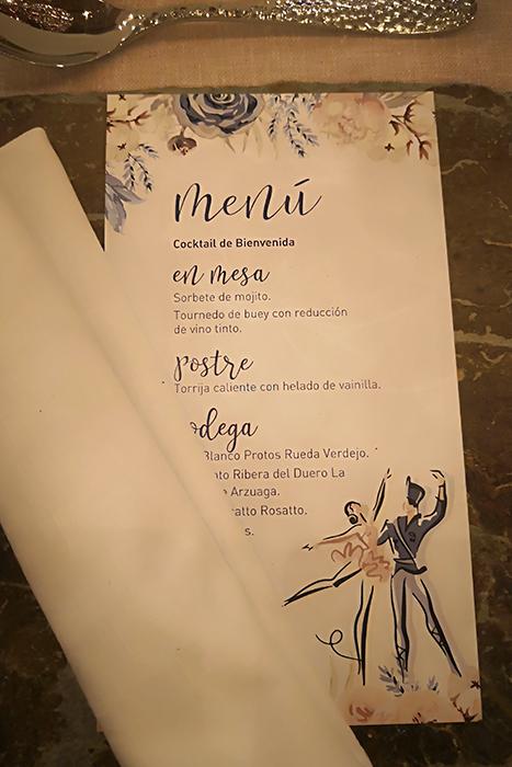 Minuta Invitación romántica boda el cascanueces