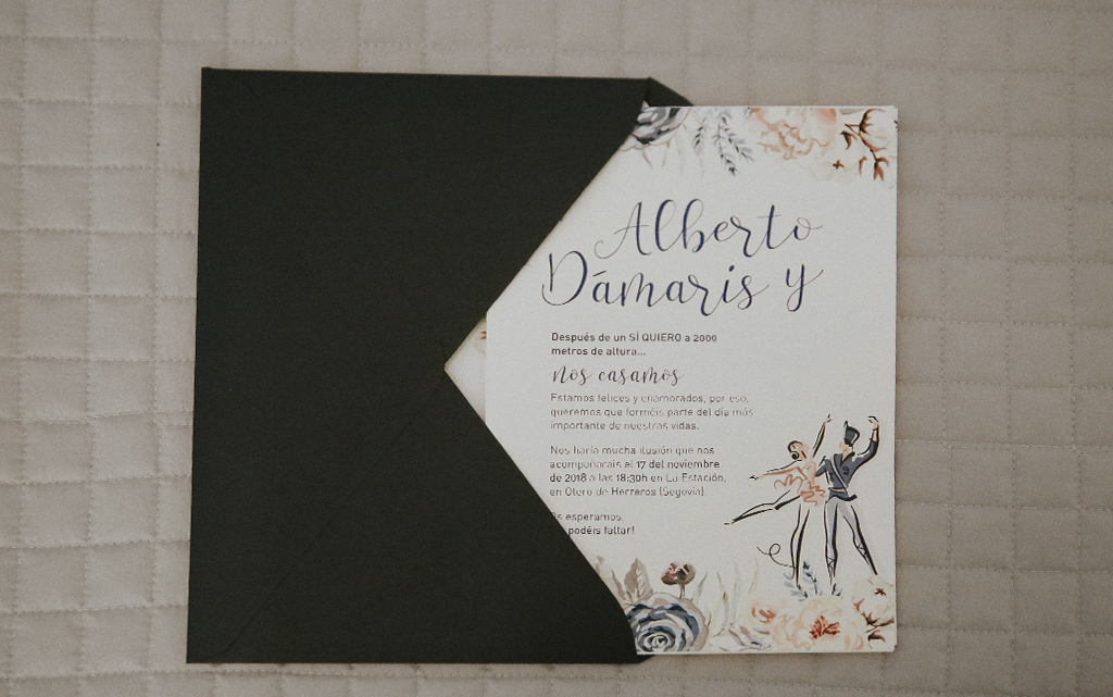 detalle sobre forrado Diseño Invitación romántica boda el cascanueces