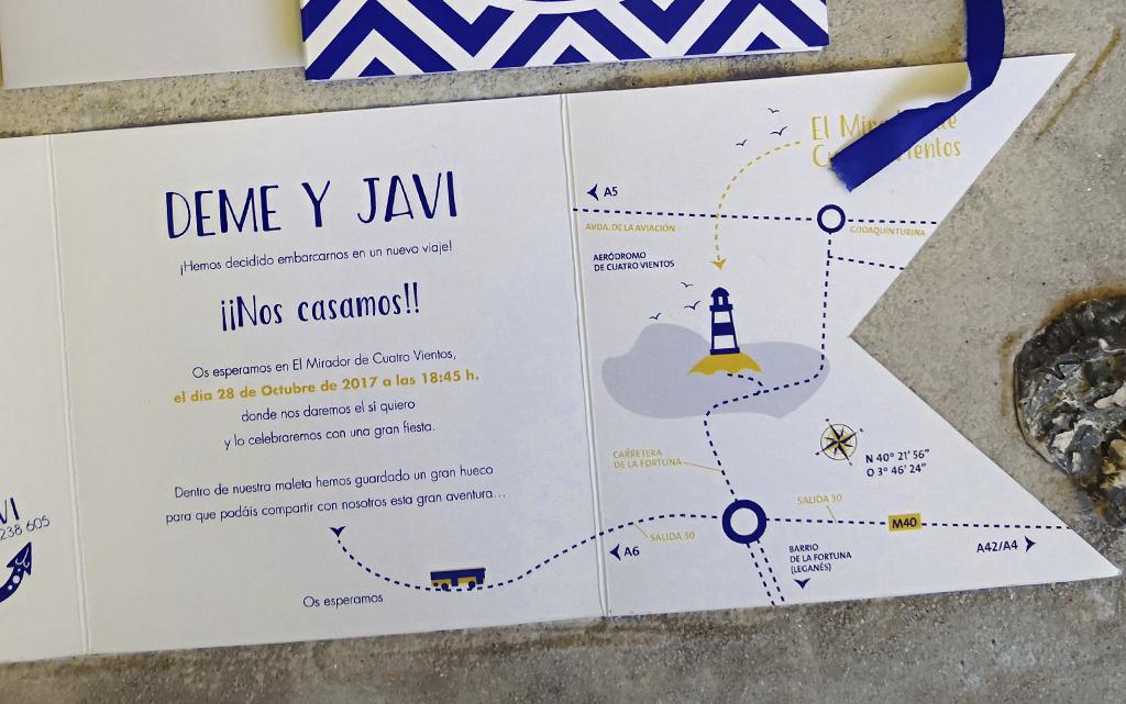 Detalle plano de invitación de boda Marinera o marítima
