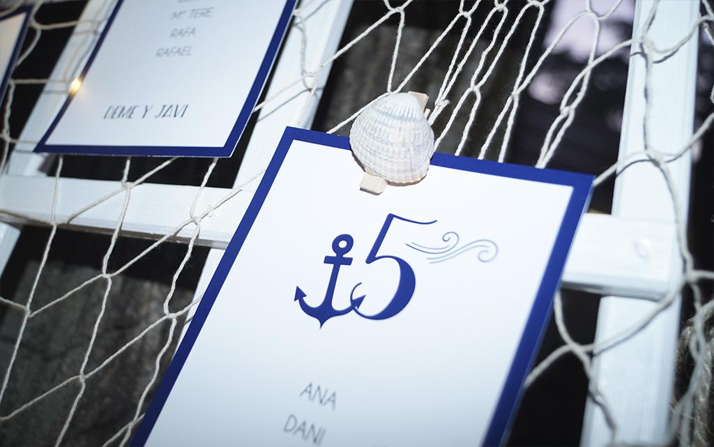 Seating plan tarjetones boda Marinera o marítima