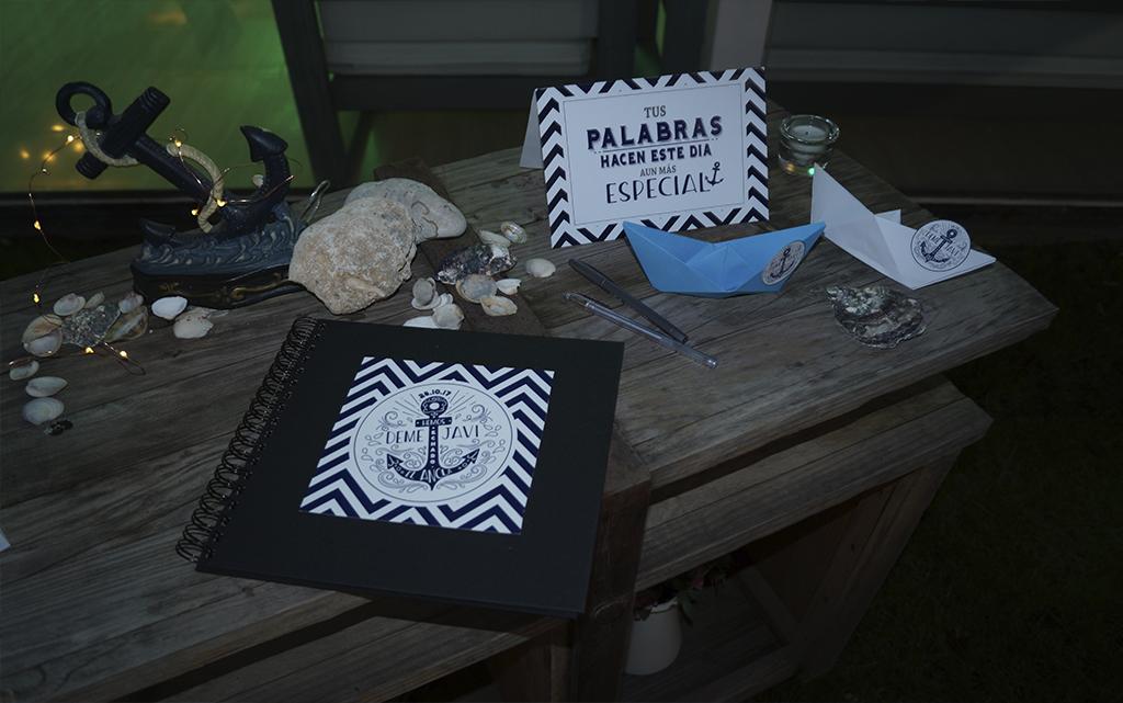 CArtel libro firmas boda Marinera o marítima